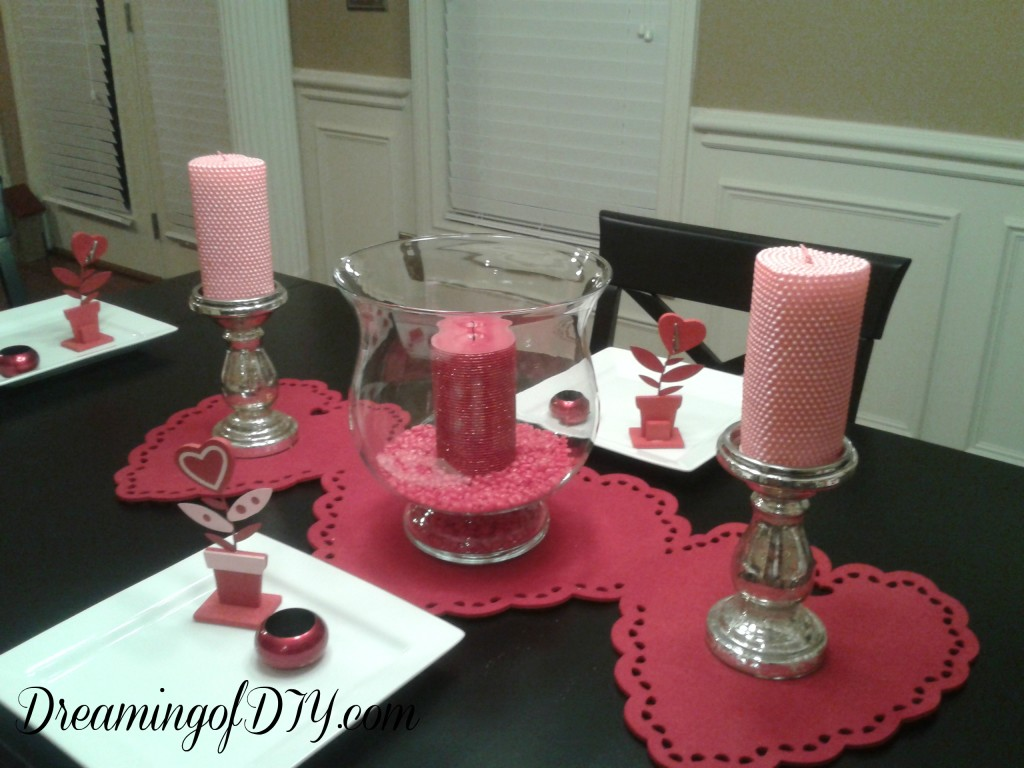 dining room table, red hots, valentine decorations