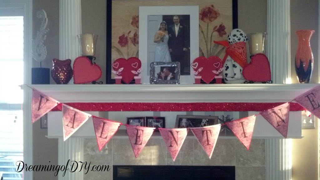 Banner, fireplace, Valentine decorations